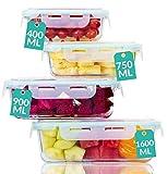 Praknu Recipientes de Vidrio con Tapa - 4 Unidades - Contenedor de Alimentos - Hermético - Apto para Lavavajillas - Sin BPA