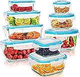 KICHLY Recipientes de cristal para alimentos - 18 pieza (9 envase, 9 Transparente tapa) Hermético Tapers cristal - Apto para lavavajilla, microondas, congelador - Aprobado por la FDA y FSC - Sin BPA
