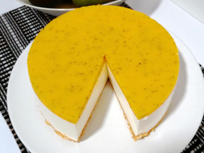 Tarta de queso sin horno con mango